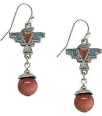 t.r.u. by 1928 pewter genuine sandstone indian drop earring
