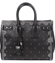 saint laurent sac de jour small leather studded black satchel bag black sz: m