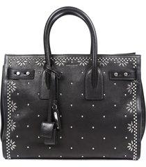 saint laurent sac de jour small leather studded black satchel bag black sz: m