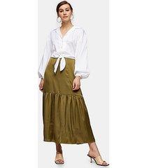 tall khaki plain tiered satin skirt - khaki