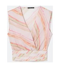 blusa regata com camadas e amarração | cortelle | multicores | pp