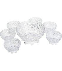 kit para sobremesa 7 pçs de cristal pineapple 19x10cm/10,5x6cm lyor