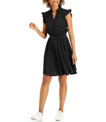 charter club dot-print ruffled-sleeve dress, created for macy's