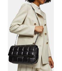 sabrina black quilted shoulder bag - black