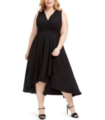 calvin klein plus size textured faux-wrap high-low dress