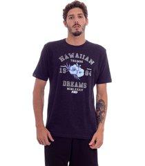 camiseta hawaiian dreams estampada varsity preta