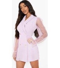 blazer jurk met organza mouwen en knoop detail, lilac