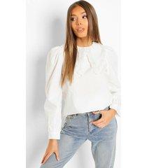 katoenen poplin blouse met kanten kraag, white
