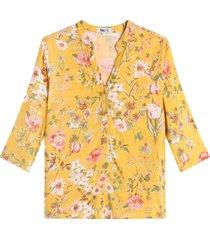 blusa mujer flores color dorado, talla l