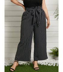 plus tamaño diseño de amarre a rayas pantalones