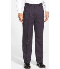 men's berle self sizer waist pleated classic fit dress pants, size 35 x unhemmed - blue