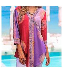 rayon tunic, 'color symphony in purple' (indonesia)