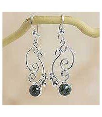 dark green jade dangle earrings, 'sea breeze' (guatemala)