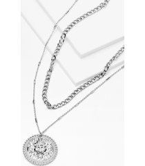 womens coin the team layered chain necklace - silver