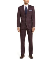 perry ellis men's slim-fit stretch dark red plaid windowpane suit