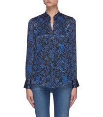 amos' paisley print pinstripe v-neck mandarin collar blouse