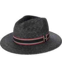 saint laurent chapéu panama com detalhe listrado - preto