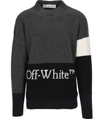 off white colour block sweater