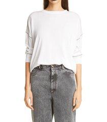 women's brunello cucinelli monili seam cotton pullover, size large - white