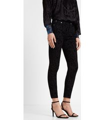 skinny flocked trousers - black - 46