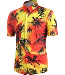 hawaii palm tree print beach shirt