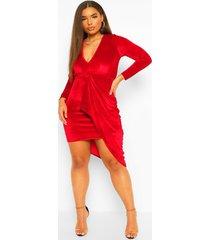 plus fluwelen gedrapeerde midi jurk met laag decolleté, red