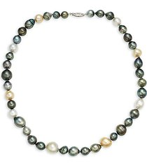 14k white gold, 8.5-12.5mm white & gold baroque south sea & tahitian pearl beaded necklace