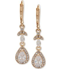 anne klein gold-tone crystal teardrop chandelier earrings