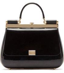 dolce & gabbana sicily box tote bag - black