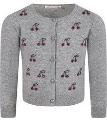 bonpoint gray cardigan for girl with cherries