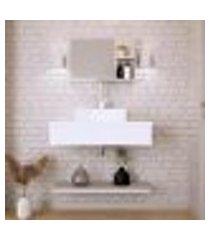 conjunto para banheiro bancada com cuba q39 quadrada, prateleira e espelheira city 806 branco chess
