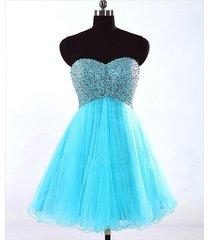 sweetheart light blue sleeveless tulle short/mini prom/formal /cocktail dress
