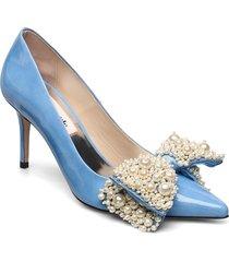 aljo pearl shoes heels pumps classic blå custommade