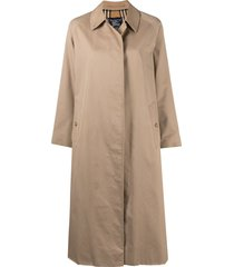 burberry pre-owned flared mid-length coat - neutrals