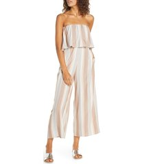 women's l space strapless cover-up jumpsuit, size large - beige