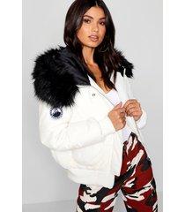 korte zwarte gewatteerde jas met faux fur capuchon, white