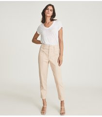 reiss baxter - relaxed tapered fit trousers in pink, womens, size 14