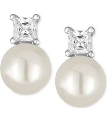 majorica silver-tone imitation pearl and crystal stud earrings