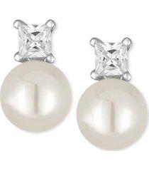 majorica silver-tone imitation pearl and crystal stud earrings