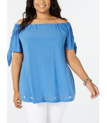 belldini plus size off-the-shoulder grommet tunic