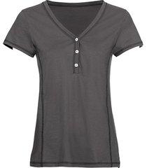 t-shirt van bio-katoen met knopen bij de v-hals, grijs 42