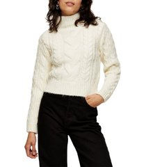 women's topshop cable roll crop sweater