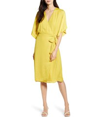 women's chelsea28 floral wrap dress, size medium - yellow