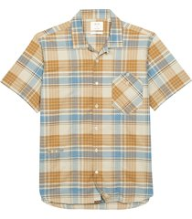 men's billy reid scout regular fit plaid short sleeve button-up camp shirt, size small - white