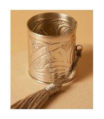 argola de guardanapo valence de alumínio set 2pcs cor: bege e prata - tamanho: único