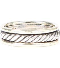 david yurman sterling silver 14k gold cable ring silver/gold sz: 7