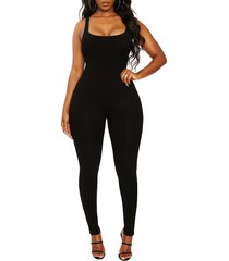 women's naked wardrobe all snatched sleeveless jumpsuit, size x-small - black