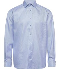 contemporary fit blue textured twill shirt skjorta business blå eton