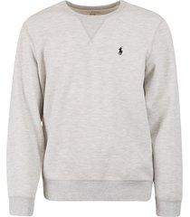 ralph lauren logo embroider ribbed sweatshirt