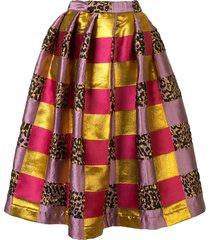 comme des garçons colour block textile a-line skirt - purple